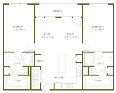 1,297 sq. ft. B5 floor plan