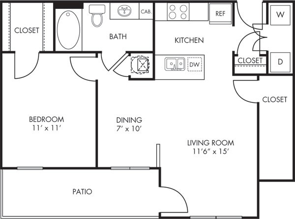 732 sq. ft. Sedona floor plan