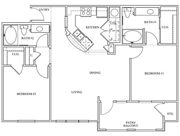 1,078 sq. ft. 22C floor plan