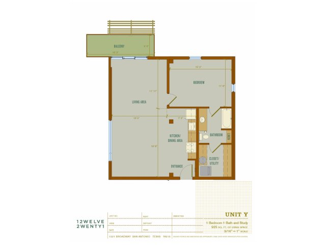 925 sq. ft. Y floor plan