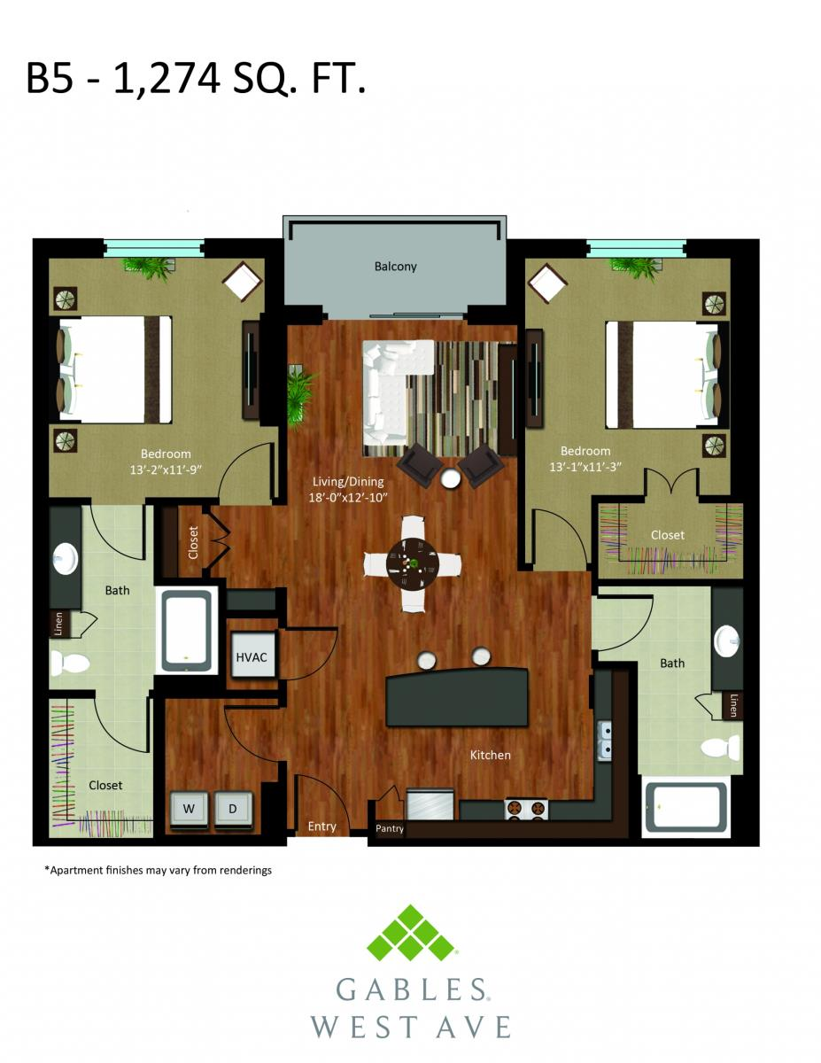 1,274 sq. ft. B6 floor plan
