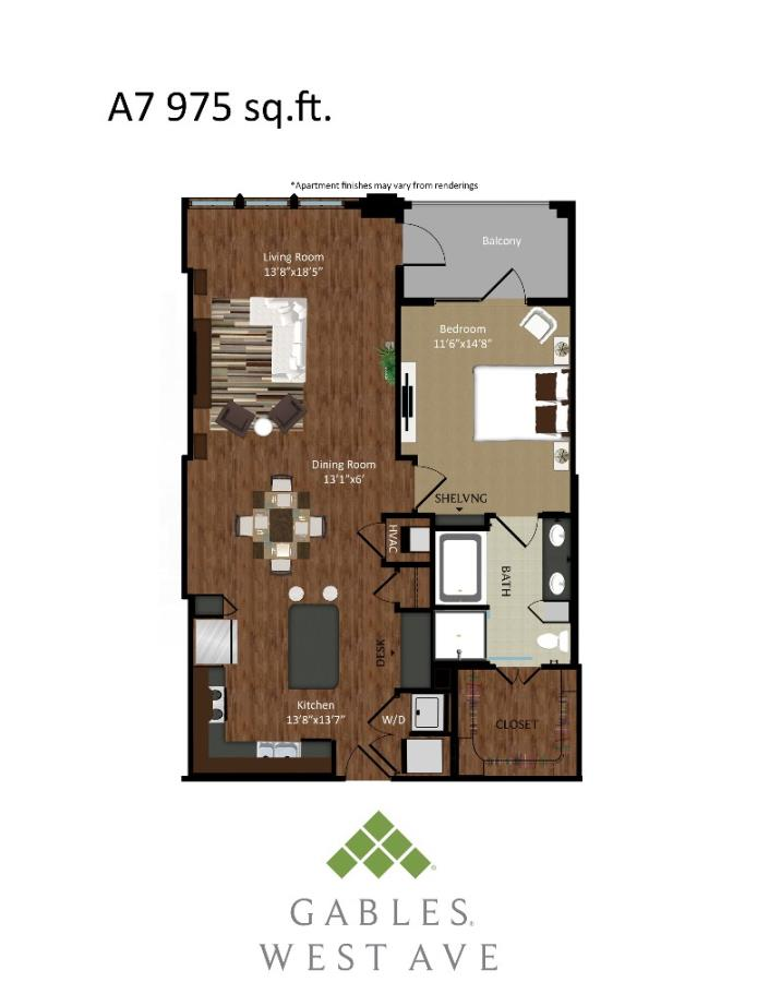 975 sq. ft. A7 floor plan