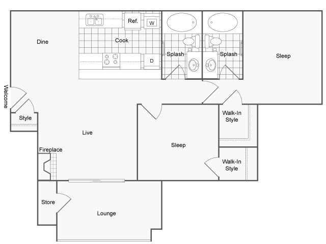 1,009 sq. ft. Moza floor plan