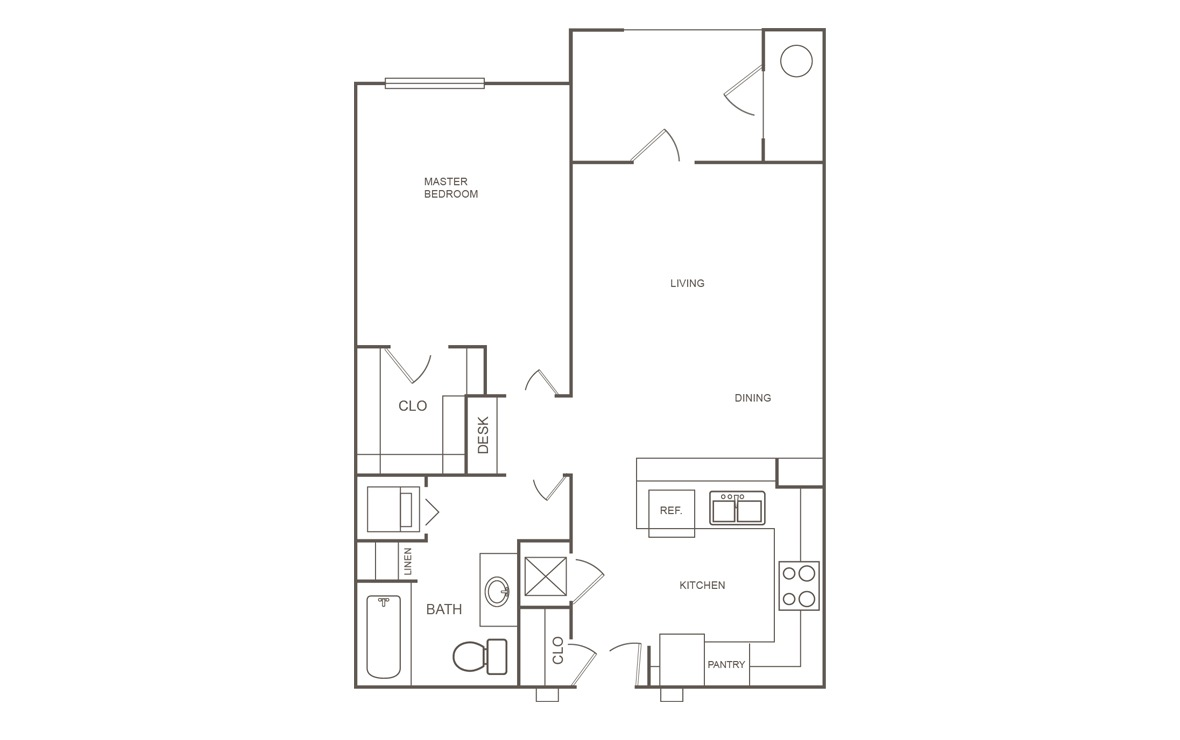 691 sq. ft. 60% floor plan