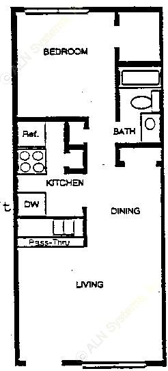 690 sq. ft. A1 floor plan