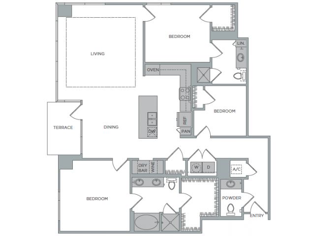 1,818 sq. ft. 3B floor plan