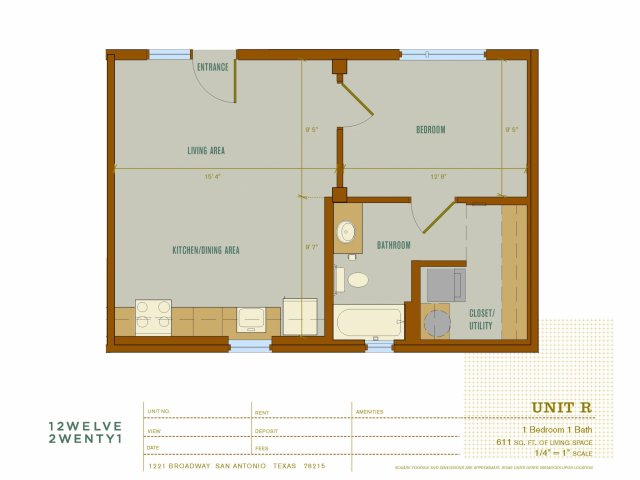 611 sq. ft. R floor plan