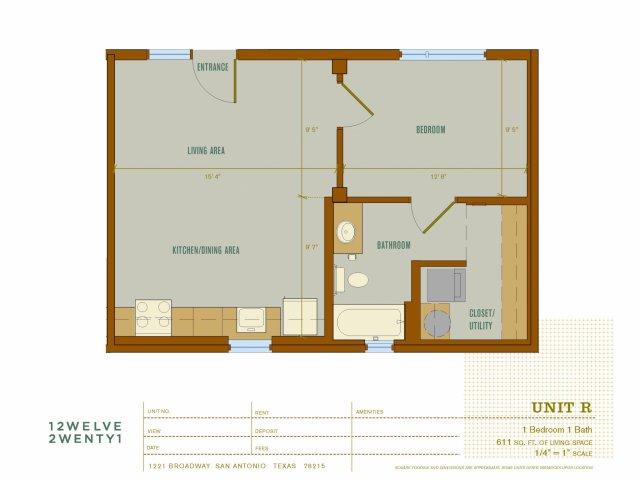 611 sq. ft. R floor plan