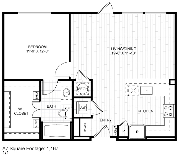 1,167 sq. ft. A7 floor plan