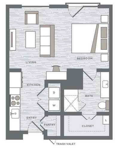 611 sq. ft. E1 floor plan