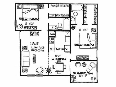 892 sq. ft. F floor plan