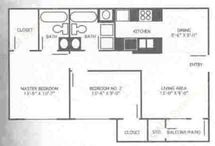 839 sq. ft. 2A/60% floor plan