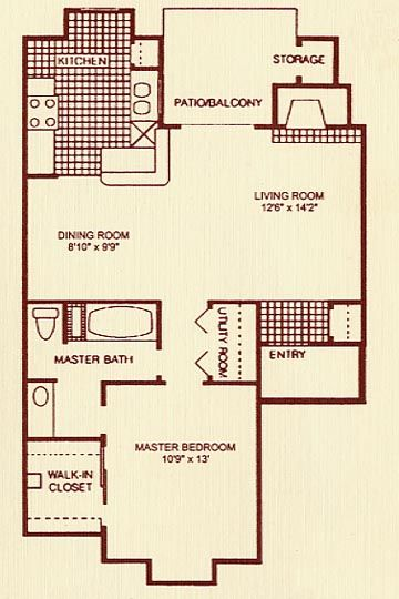 750 sq. ft. 1C floor plan