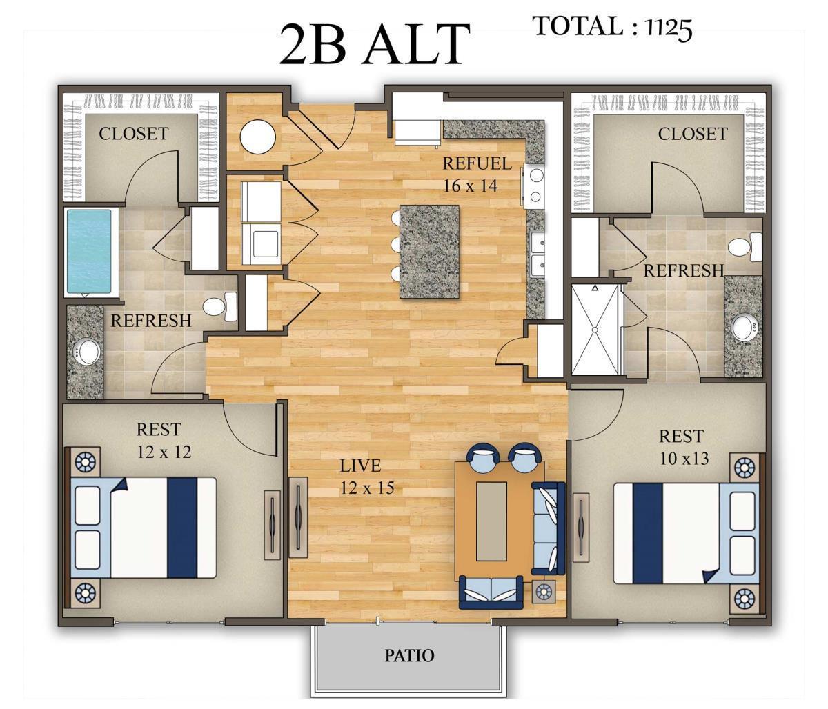 1,125 sq. ft. 2B Alt 1 floor plan