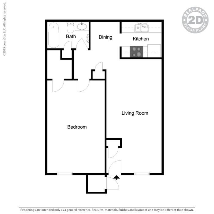 650 sq. ft. B floor plan