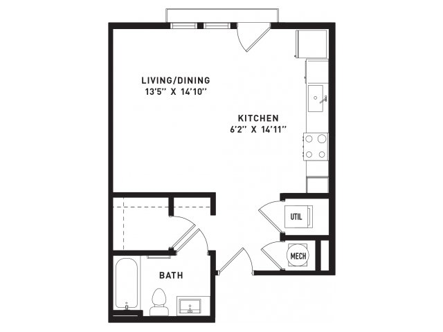 490 sq. ft. E1 floor plan
