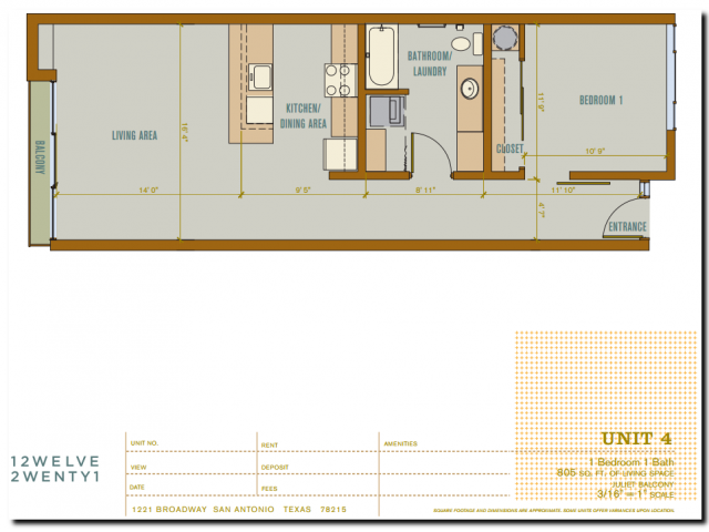 805 sq. ft. 2A4 floor plan