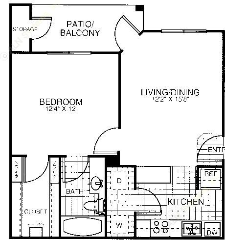652 sq. ft. A1A floor plan