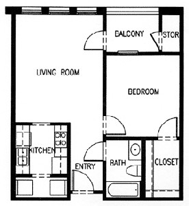 671 sq. ft. C1A-60 floor plan