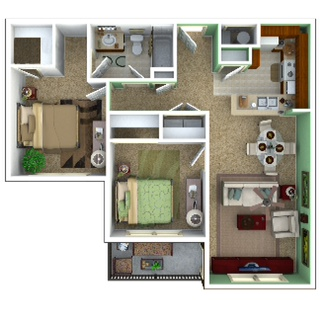 1,085 sq. ft. Tranquility/50% floor plan
