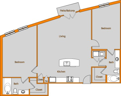 1,333 sq. ft. LOFT 13 floor plan