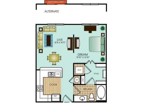 607 sq. ft. Studio 1 floor plan