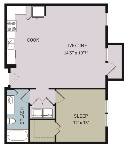 825 sq. ft. A11 floor plan