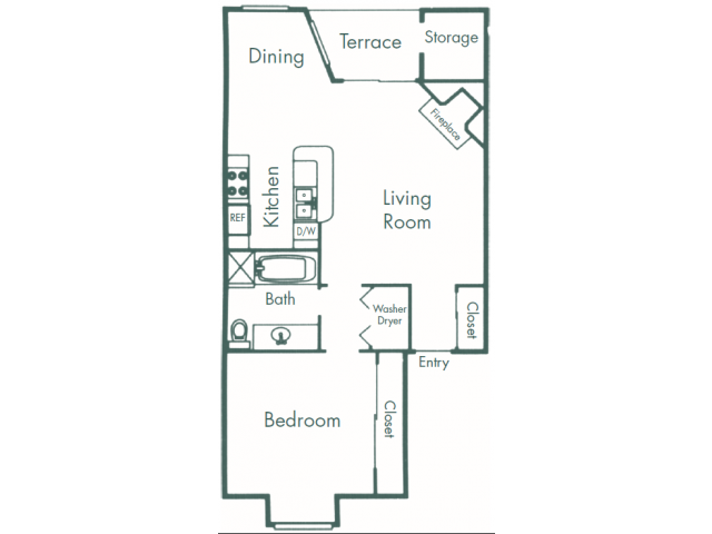 806 sq. ft. A6 floor plan