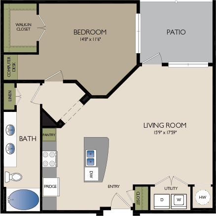 924 sq. ft. A4 floor plan