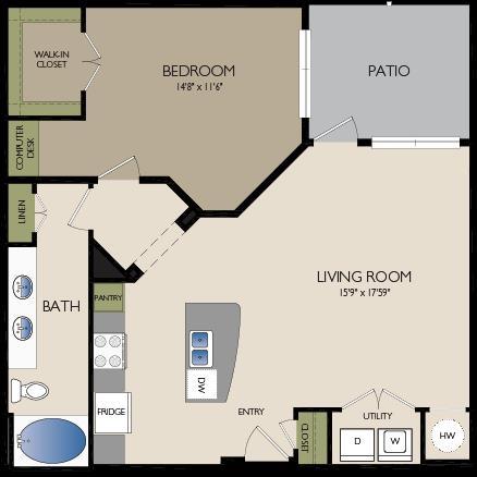 924 sq. ft. A4 floor plan
