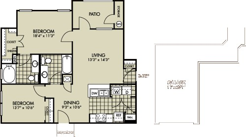 931 sq. ft. Paintbrush floor plan