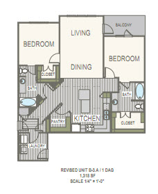 1,318 sq. ft. B3.A1 floor plan