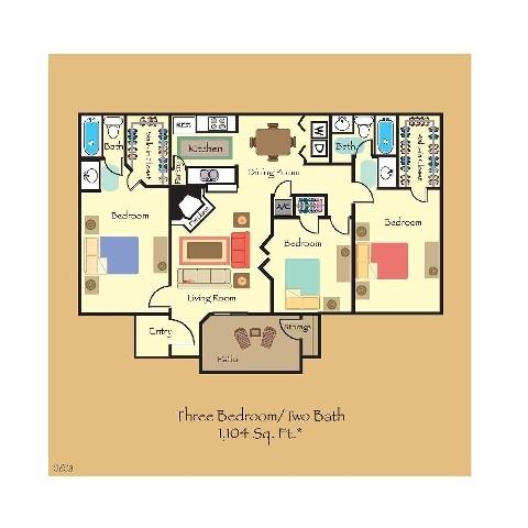 1,104 sq. ft. C1 floor plan