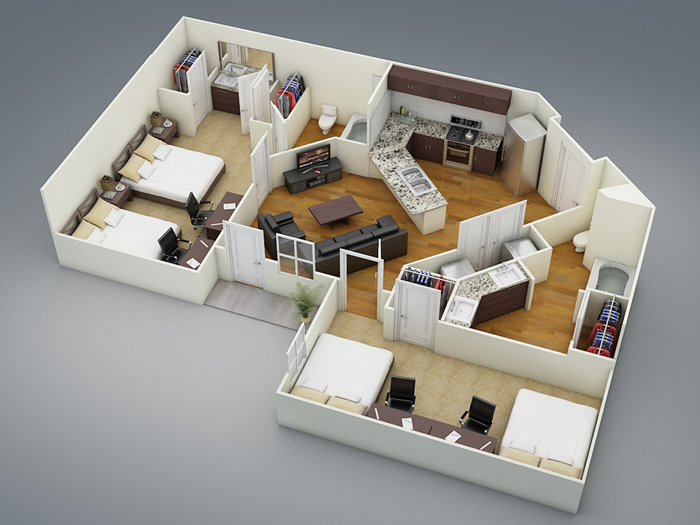 1,082 sq. ft. B5 floor plan