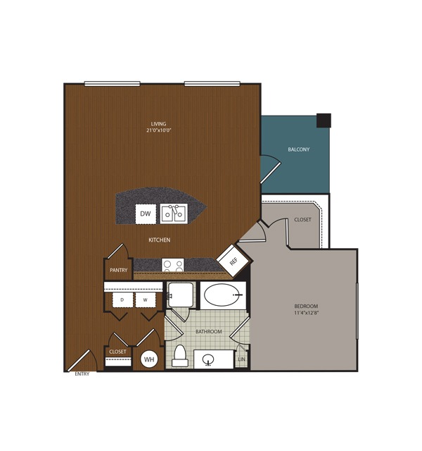 860 sq. ft. A6 floor plan