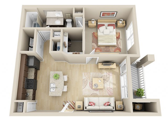 650 sq. ft. A1a floor plan