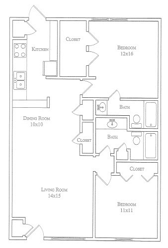 1,016 sq. ft. Lazy Daisy floor plan