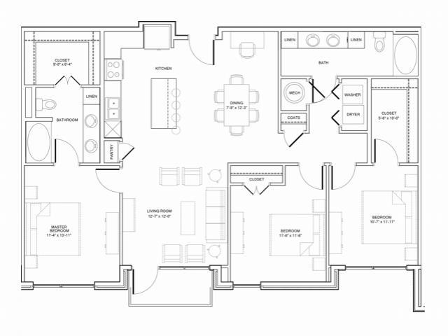 1,463 sq. ft. 3A floor plan