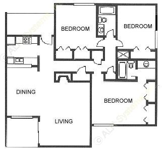 1,301 sq. ft. T1 floor plan