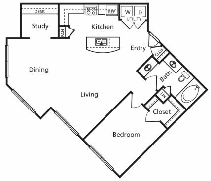 966 sq. ft. C1 floor plan