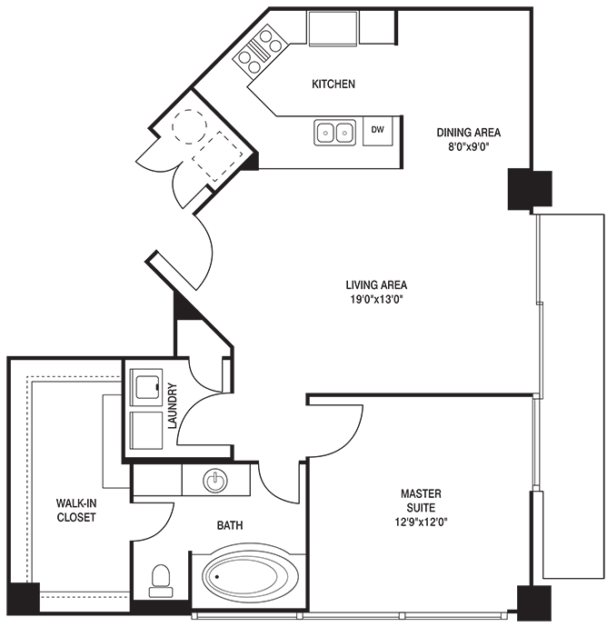 891 sq. ft. A floor plan
