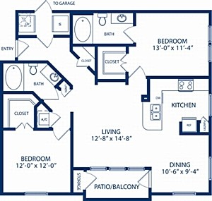 1,119 sq. ft. Oak floor plan