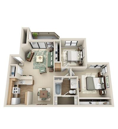 908 sq. ft. Maple floor plan