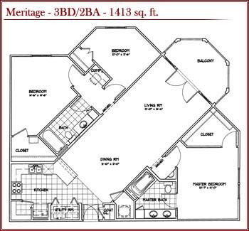 1,413 sq. ft. Meritage floor plan