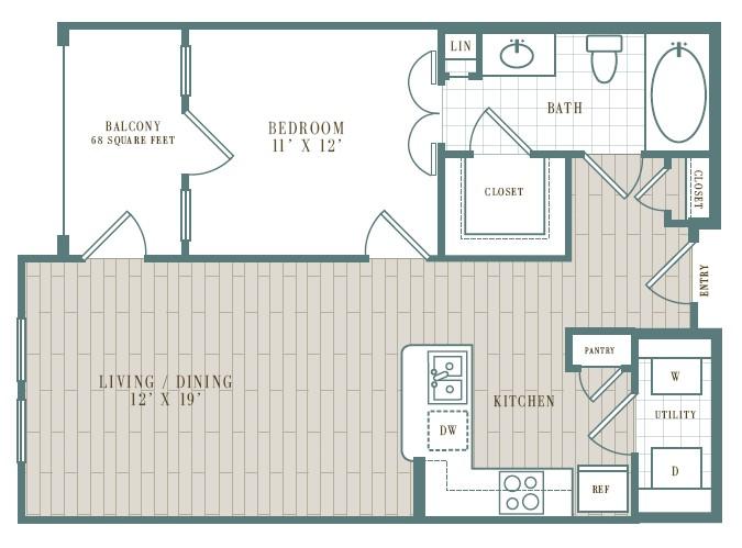 729 sq. ft. Laguna floor plan