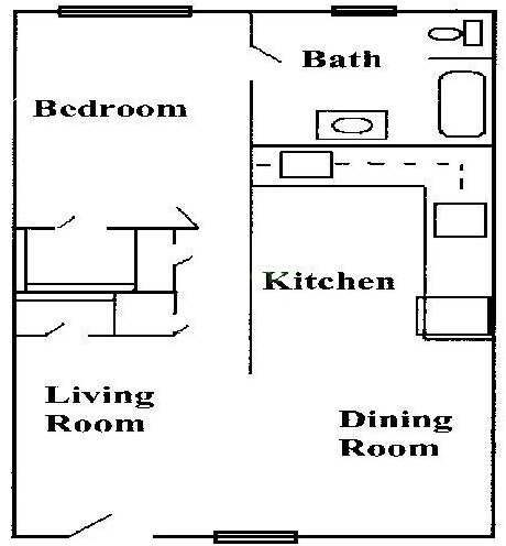 778 sq. ft. A2 floor plan