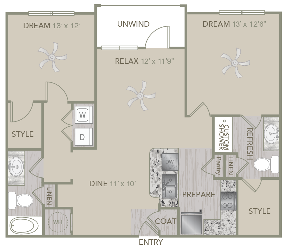 1,097 sq. ft. B1 floor plan