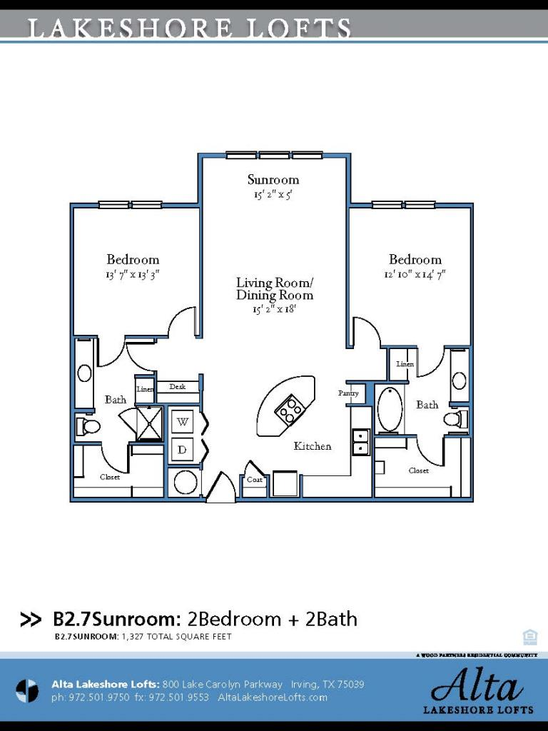 1,329 sq. ft. B2.7 floor plan