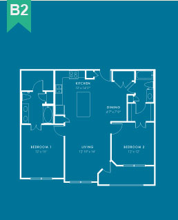 1,076 sq. ft. B3 floor plan