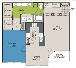 964 sq. ft. A7 floor plan
